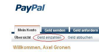guthaben auf paypal einzahlen