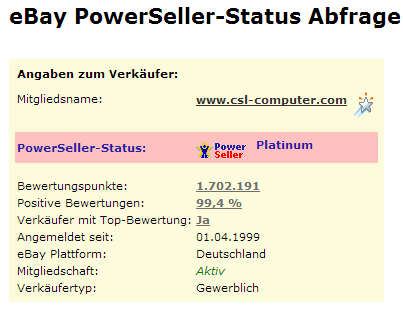 PowerSeller-Statusabfrage