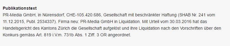PR Media GmbH ist insolvent