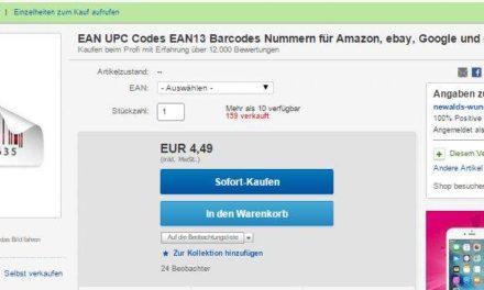 Betrug bei eBay: Illegaler Handel mit GTIN/EAN Nummern