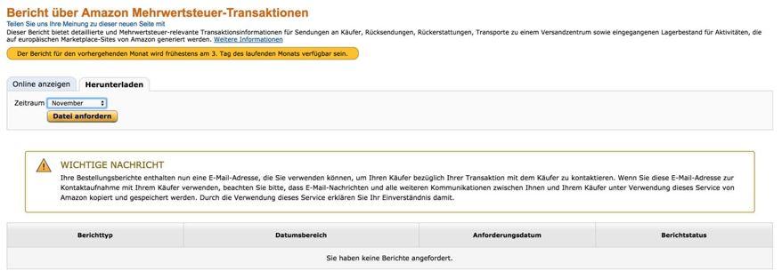 Amazon Mehrwertsteuer-Transaktionen