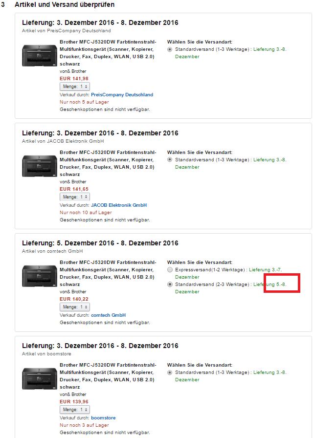 """Screenshot-Ausschnitt des Amazon Checkouts des Produkts """"Brother MFC-J5320DW Farbtintenstrahl-Multifunktionsgerät"""" vom 01.12.2016"""