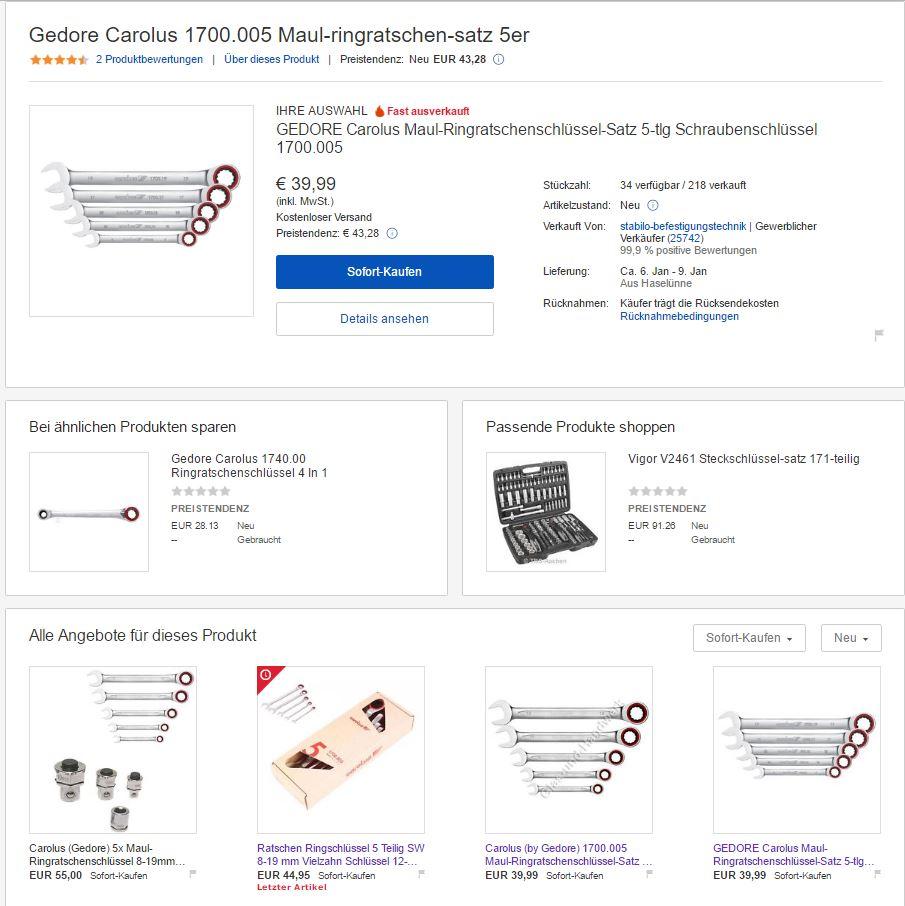 eBay Suchergebnisse: Veränderung der Darstellung