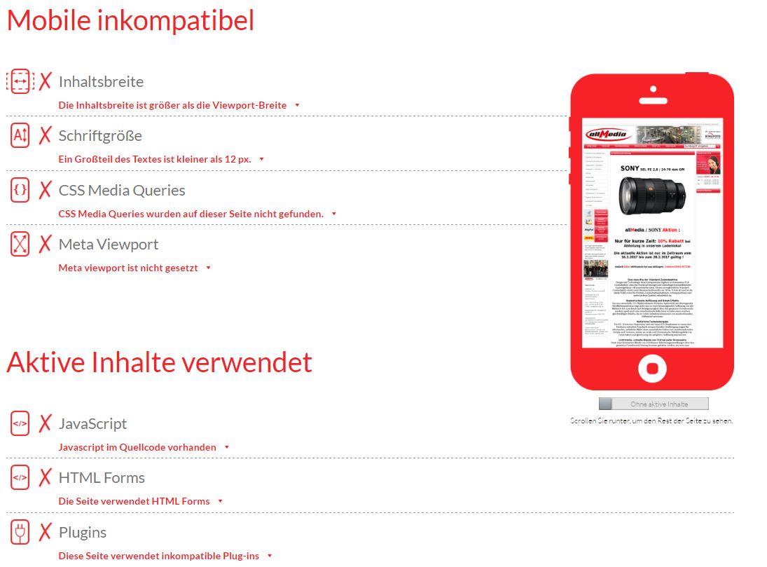 Mobile inkompatibel