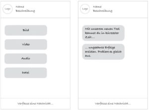 Chatbot Interaktionselemente - Text und Medienformate