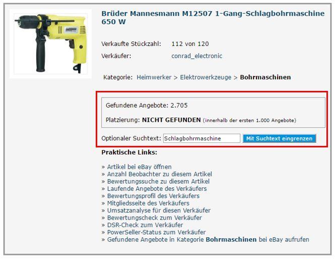 ebay SEO Tool 'Ranking-Check'