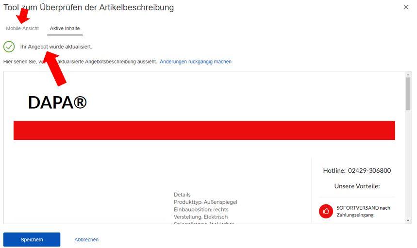 eBay aktive Inhalte
