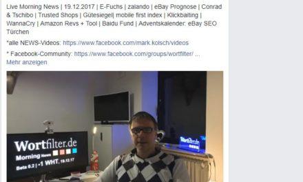 Live Morning News | 19.12.2017 | E-Fuchs | zalando | eBay Prognose