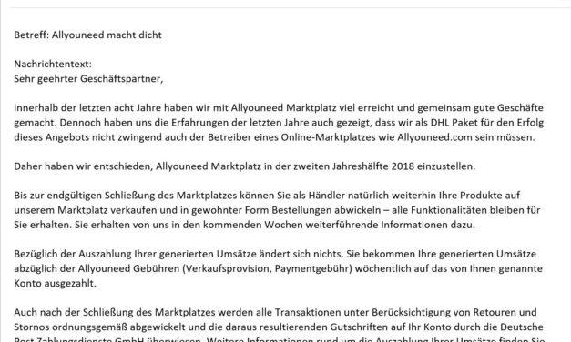 NEWS DHL Marktplatz allyouneed.de schließt