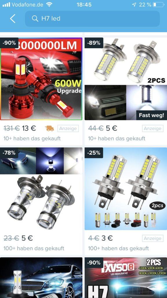 Gefährliche Produkte auf wish.com