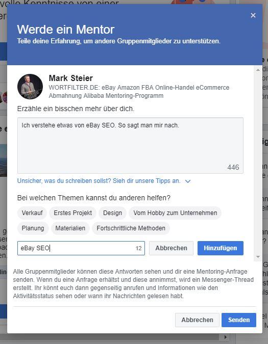 Anleitung Facebook Mentoring Programm in der Wortfilter Facebook Gruppe