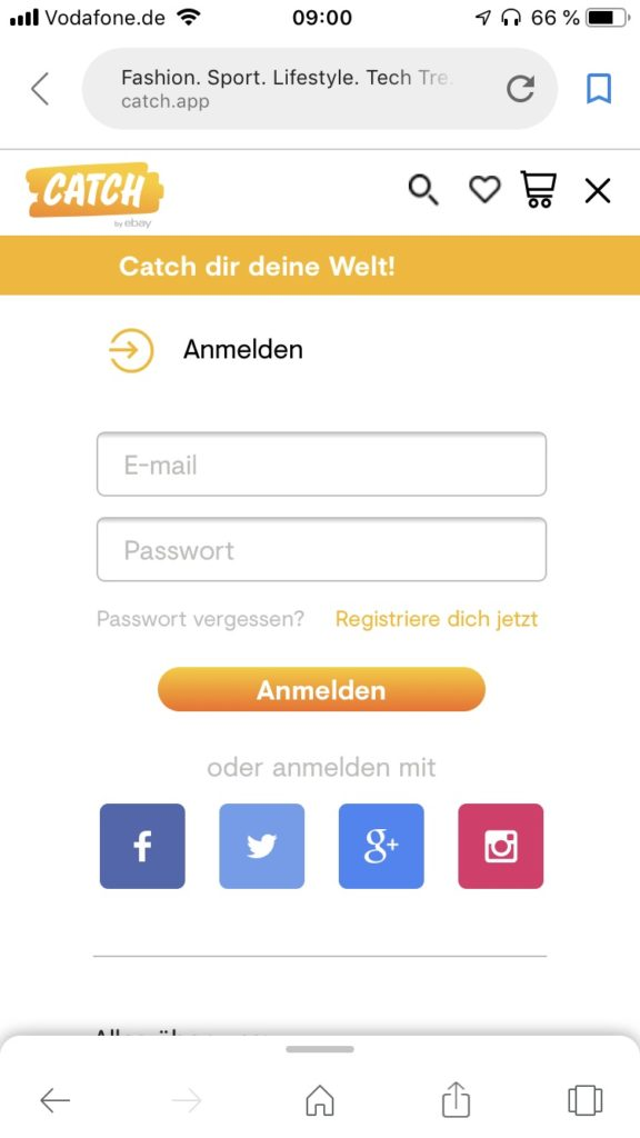 catch by ebay Login