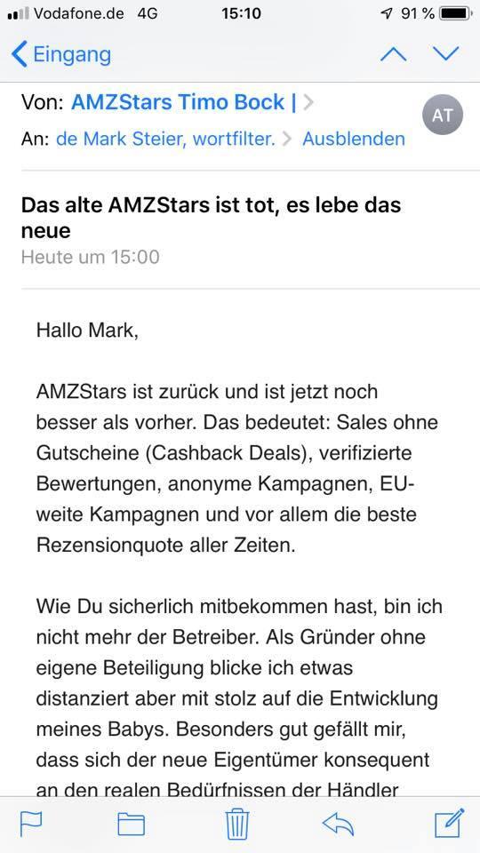 (Werbung für die illegale Rezensionplattform amzstars.de)