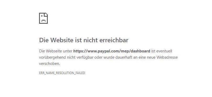 PayPal mit Störung